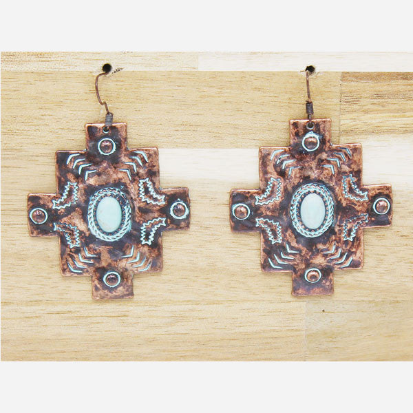 Aztec Copper Patina Earrings - Ropes and Rhinestones