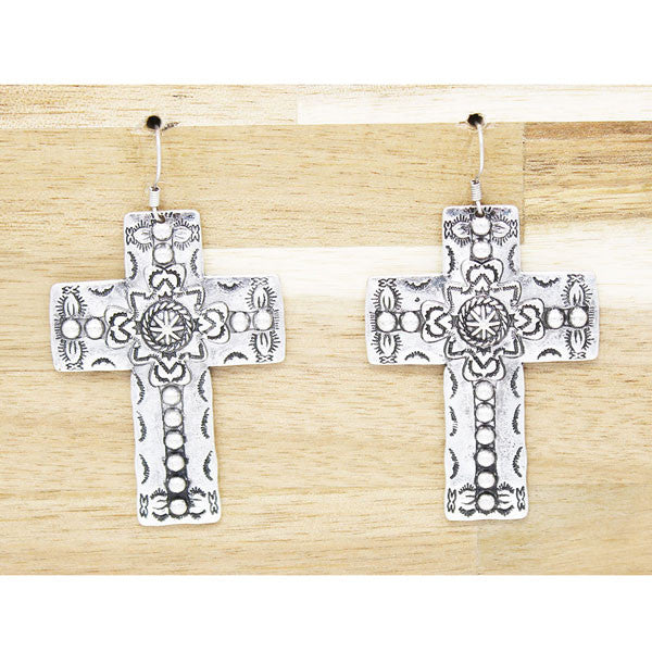 Silver Spotted Cross Earrings - Ropes and Rhinestones