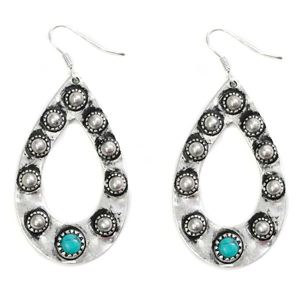 Silver & Turquoise Spot Earrings - Ropes and Rhinestones