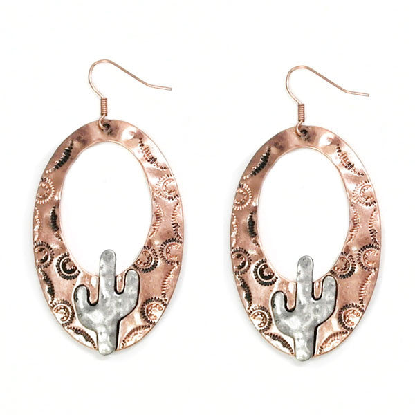 Copper Cactus Earrings - Ropes and Rhinestones