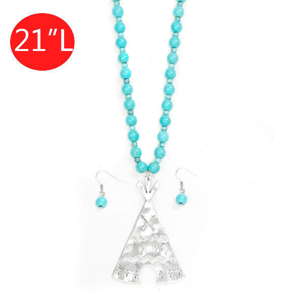 Turquoise Teepee Necklace - Ropes and Rhinestones