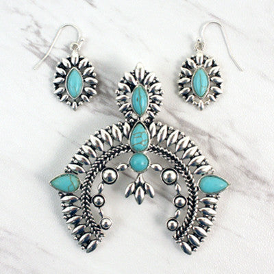 Naja Turquoise Pendant Set - Ropes and Rhinestones