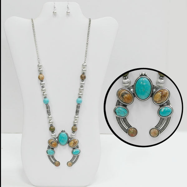 Turquoise Long Naja Necklace - Ropes and Rhinestones