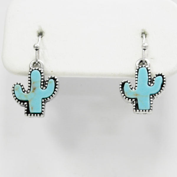Cactus Turquoise Earrings - Ropes and Rhinestones