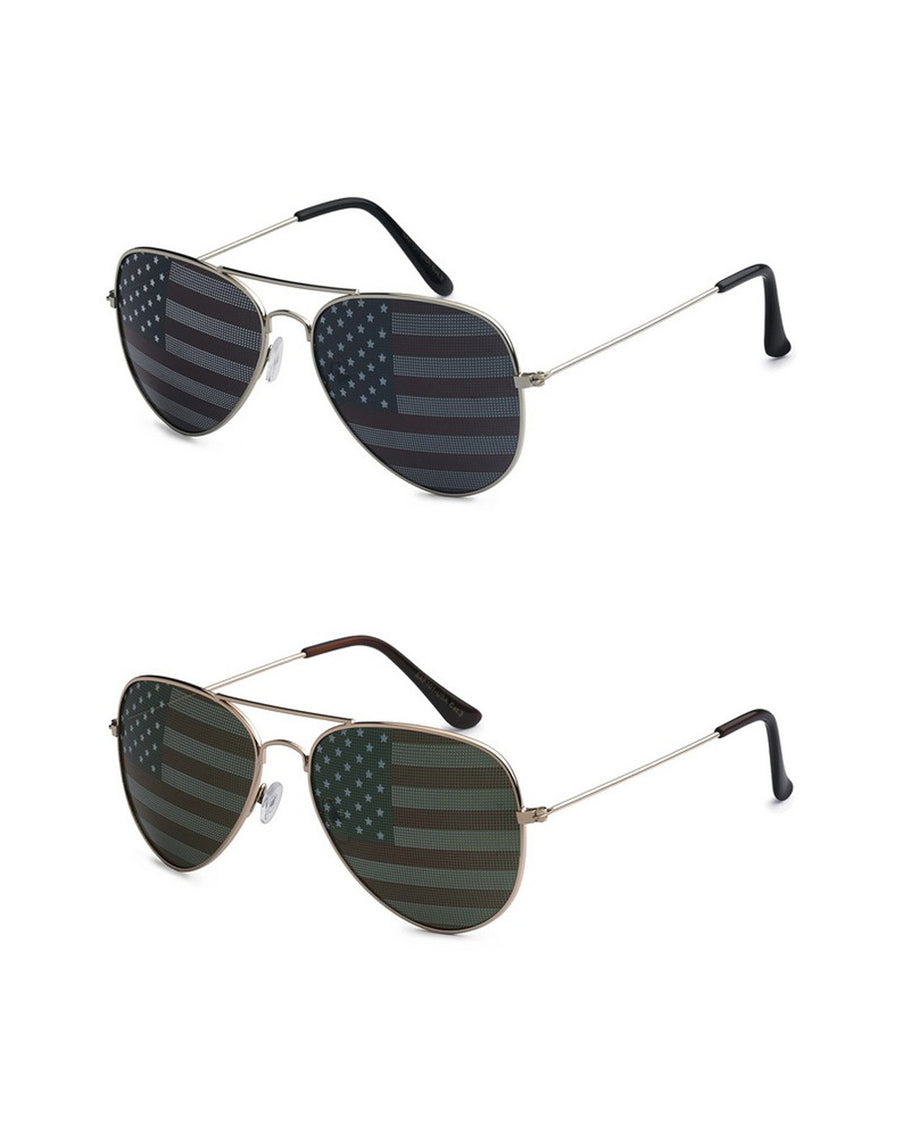American Flag Aviator Sunglasses - Ropes and Rhinestones