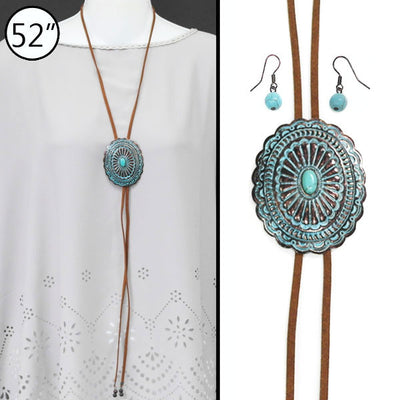 Concho Bolo Necklace Set - Ropes and Rhinestones