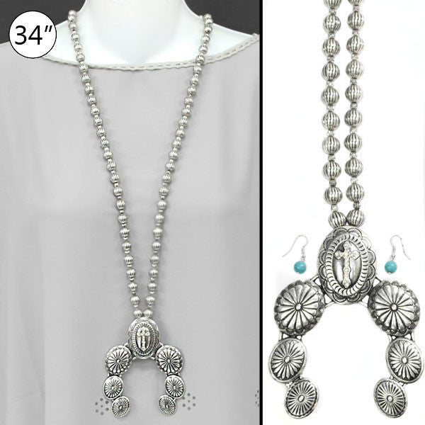 Silver Naja Cross Necklace Set