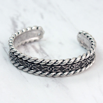 Silver Engraved Cuff Bracelet - Ropes and Rhinestones