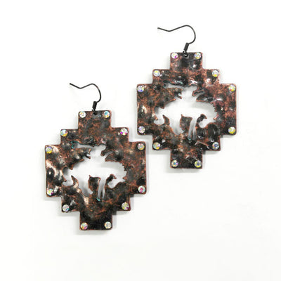 Bucking Horse Earrings - Ropes and Rhinestones