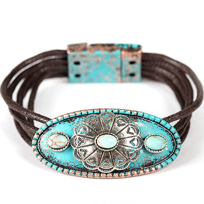 Concho Cord Bracelet - Ropes and Rhinestones