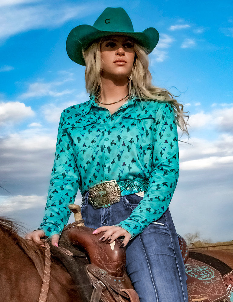Cowgirl Tuff Turquoise Tee Pee Bronc Pullover Button Up