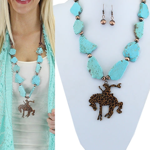 Turquoise & Leopard Bucking Bronc Necklace