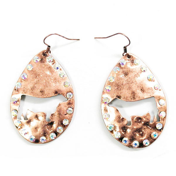 Cattle Earrings - Ropes and Rhinestones