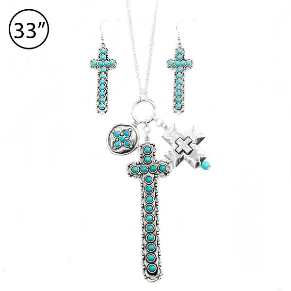 Turquoise Cross Charm Necklace Set