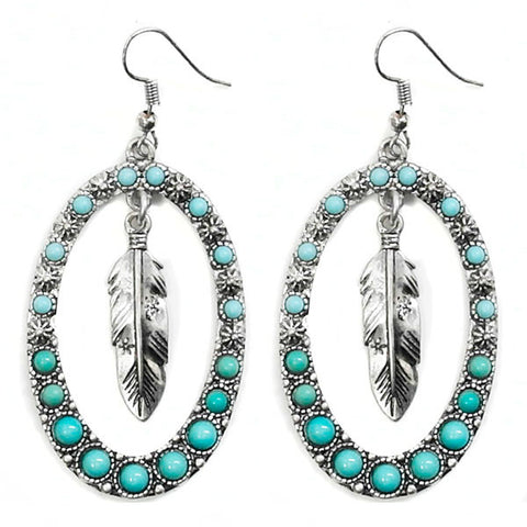 Feather & Turquoise Hoop Earrings
