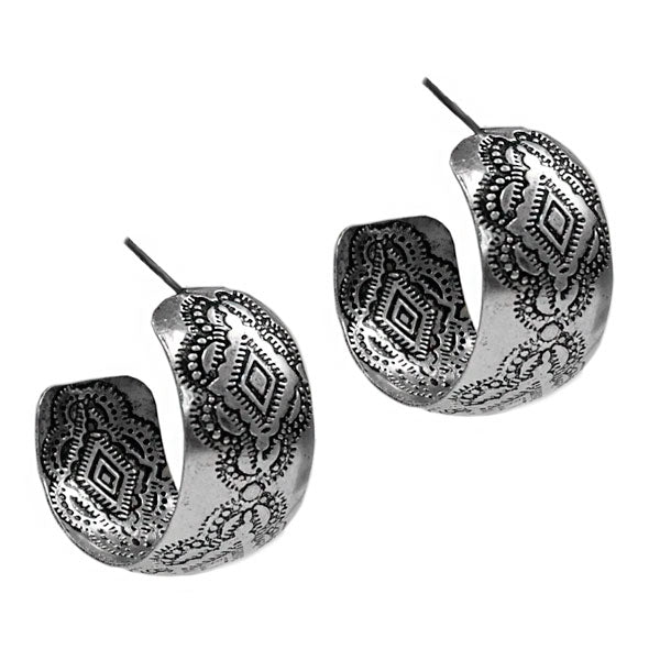 Wide Silver Stamped Earrings