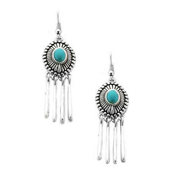 Turquoise Concho Waterfall Earrings