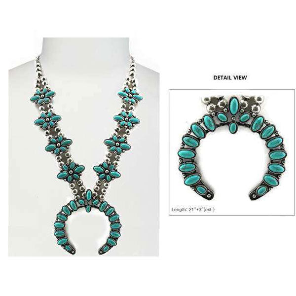 Turquoise Mesa Squash Blossom Necklace