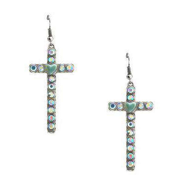 Cross Heart Earrings - Ropes and Rhinestones