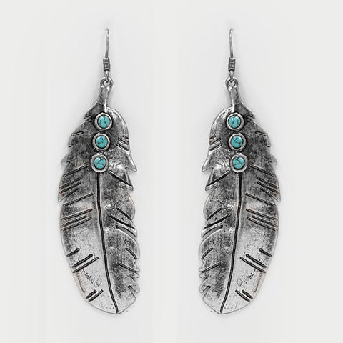 Feather & Turquoise Earrings