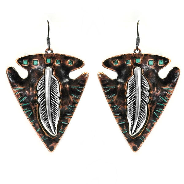 Arrowhead Feather Earrings - Ropes and Rhinestones