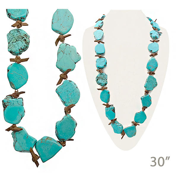 Turquoise Slab Stone Long Necklace