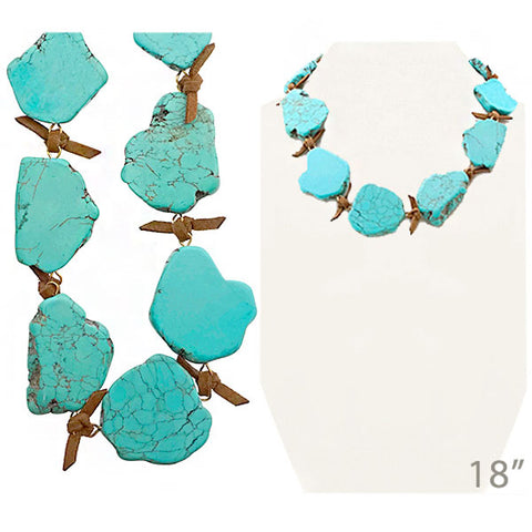 Turquoise Slab Stone Necklace