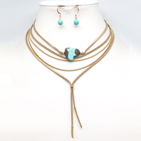 Layered Leather & Turquoise Necklace Set