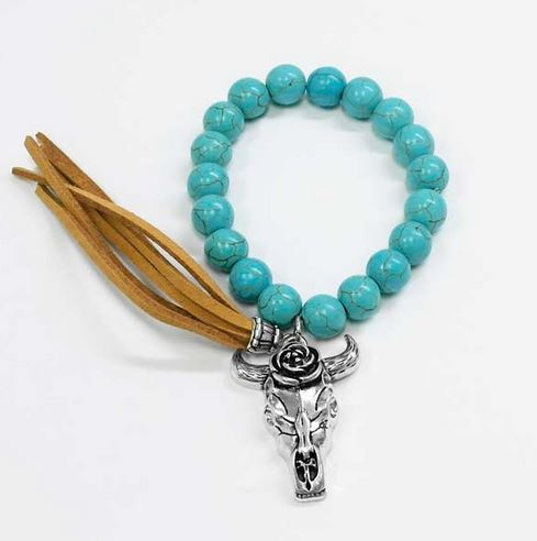 Turquoise Cow Skull Charm Stretch Bracelet