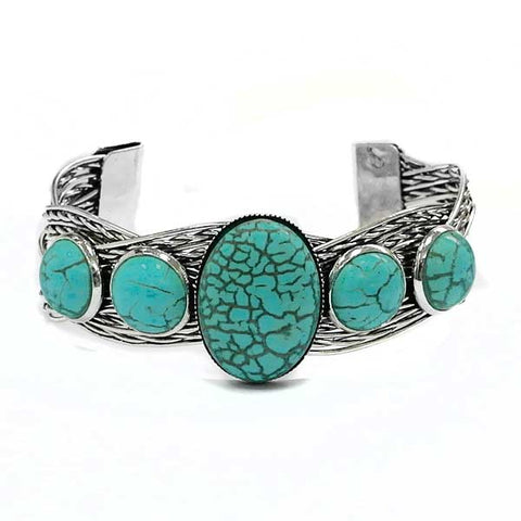 Twisted Silver Turquoise Bracelet