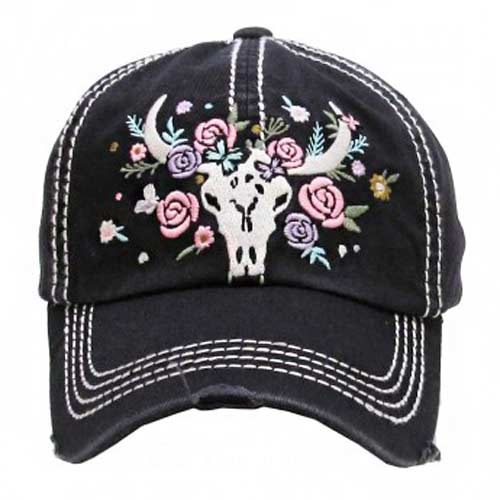 Cow Skull & Floral Cap - Ropes and Rhinestones