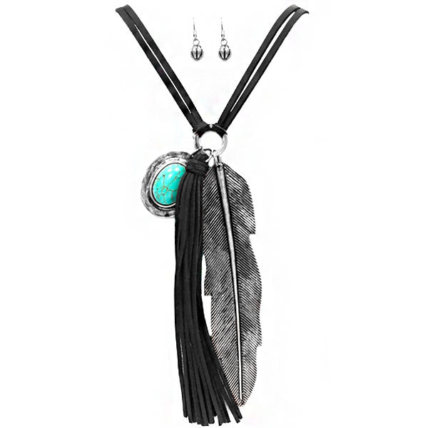 Leather & Feather Necklace set
