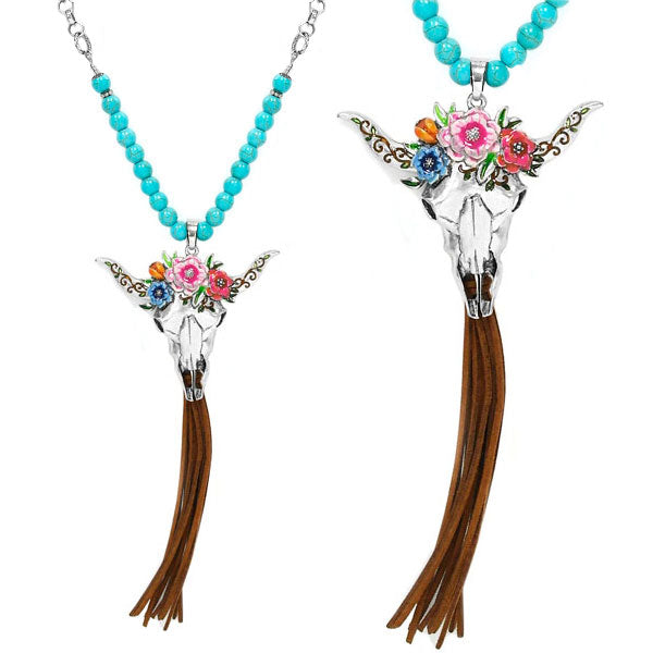 Cow Skull & Flowers Necklace - Ropes and Rhinestones