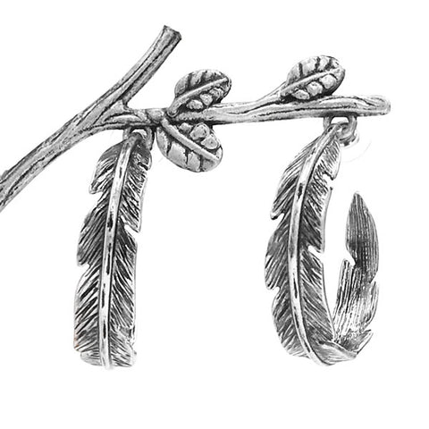 Silver Feather Half Hoop Earrings