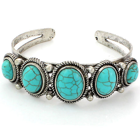 Cinco Turquoise Cuff Bracelet - Ropes and Rhinestones