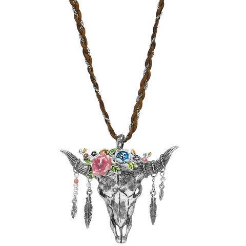 Cow Skull & Feather Necklace