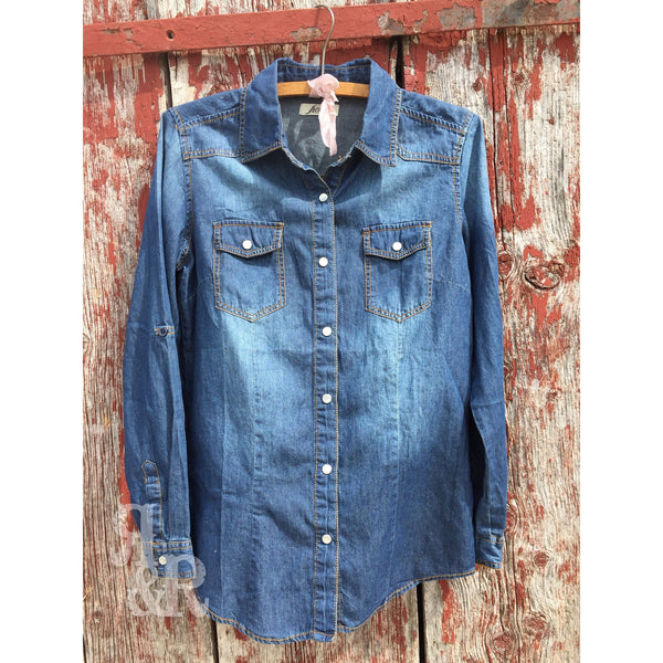 Denim Button Down Shirt - Ropes and Rhinestones