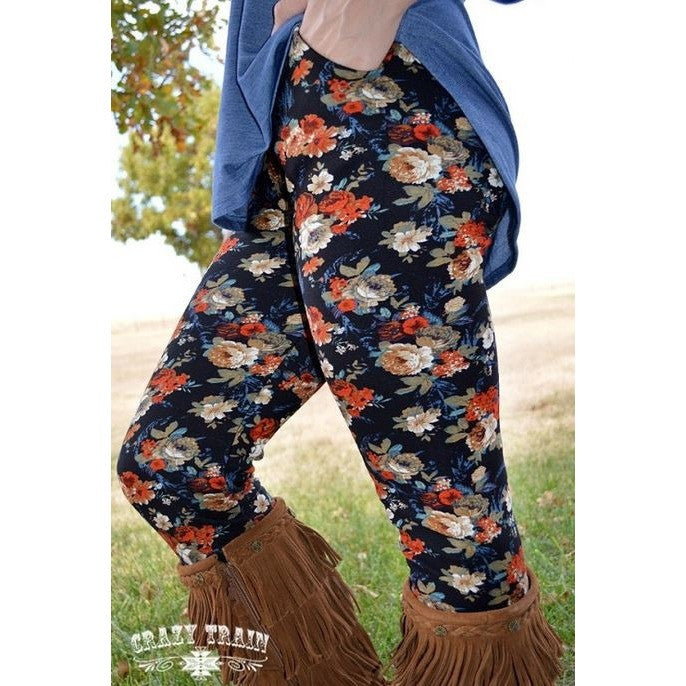 Fall Floral Leggings - Ropes and Rhinestones