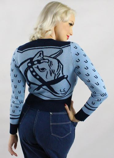 Bucking Bronco Ladies Sweater - Ropes and Rhinestones