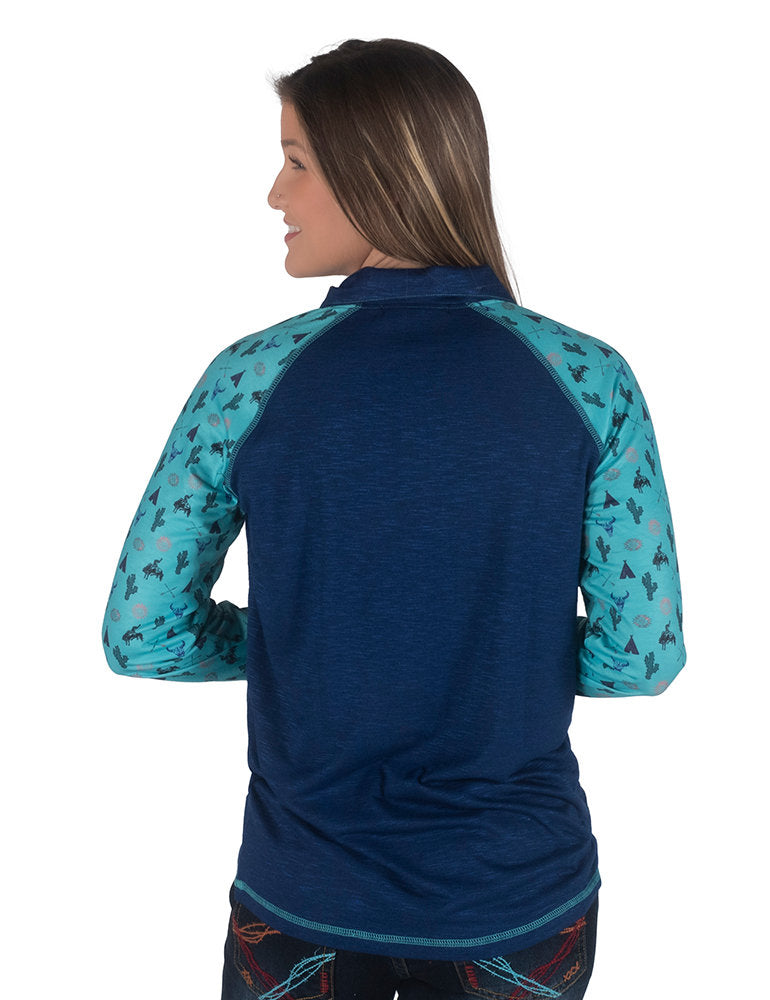 Cowgirl Tuff Turquoise Teepee Bronc Pullover