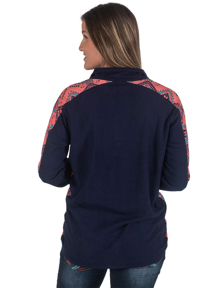Cowgirl Tuff Coral Aztec Pullover