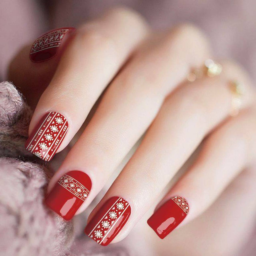 Cherry Fever Red Aztec Nail Polish Strips