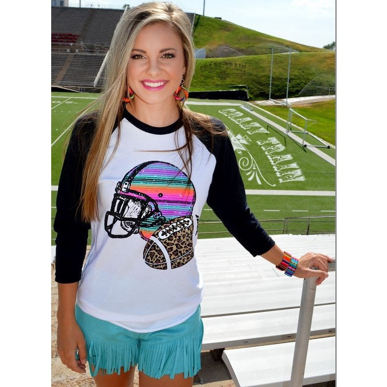Football Frenzy Baseball Shirt - Ropes and Rhinestones