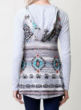 Aztec Print Hooded Sweater - Ropes and Rhinestones