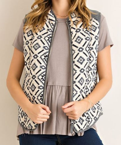 Aztec Puff Vest - Ropes and Rhinestones