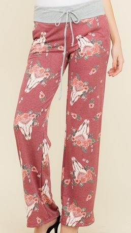 Cow Skull Lounge Pants - Ropes and Rhinestones