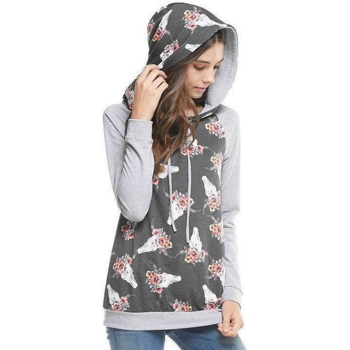 Steer Skull Hooded Sweatshirt - Ropes and Rhinestones