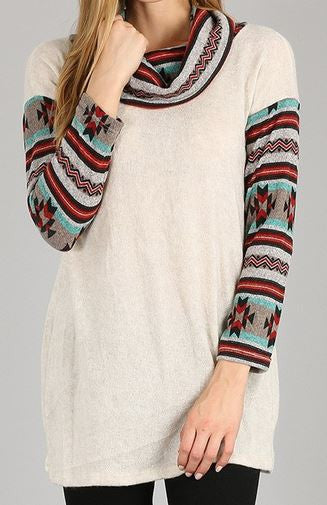 Aztec Cowl Neck Shirt - Ropes and Rhinestones