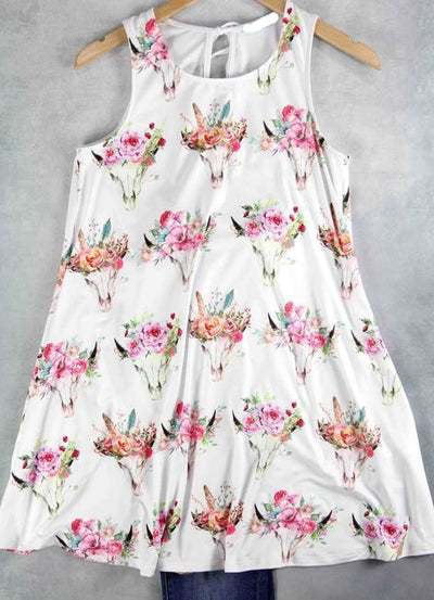 Steer Skull & Flowers Dress