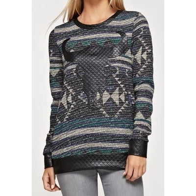 Steer & Leather Sweater - Ropes and Rhinestones